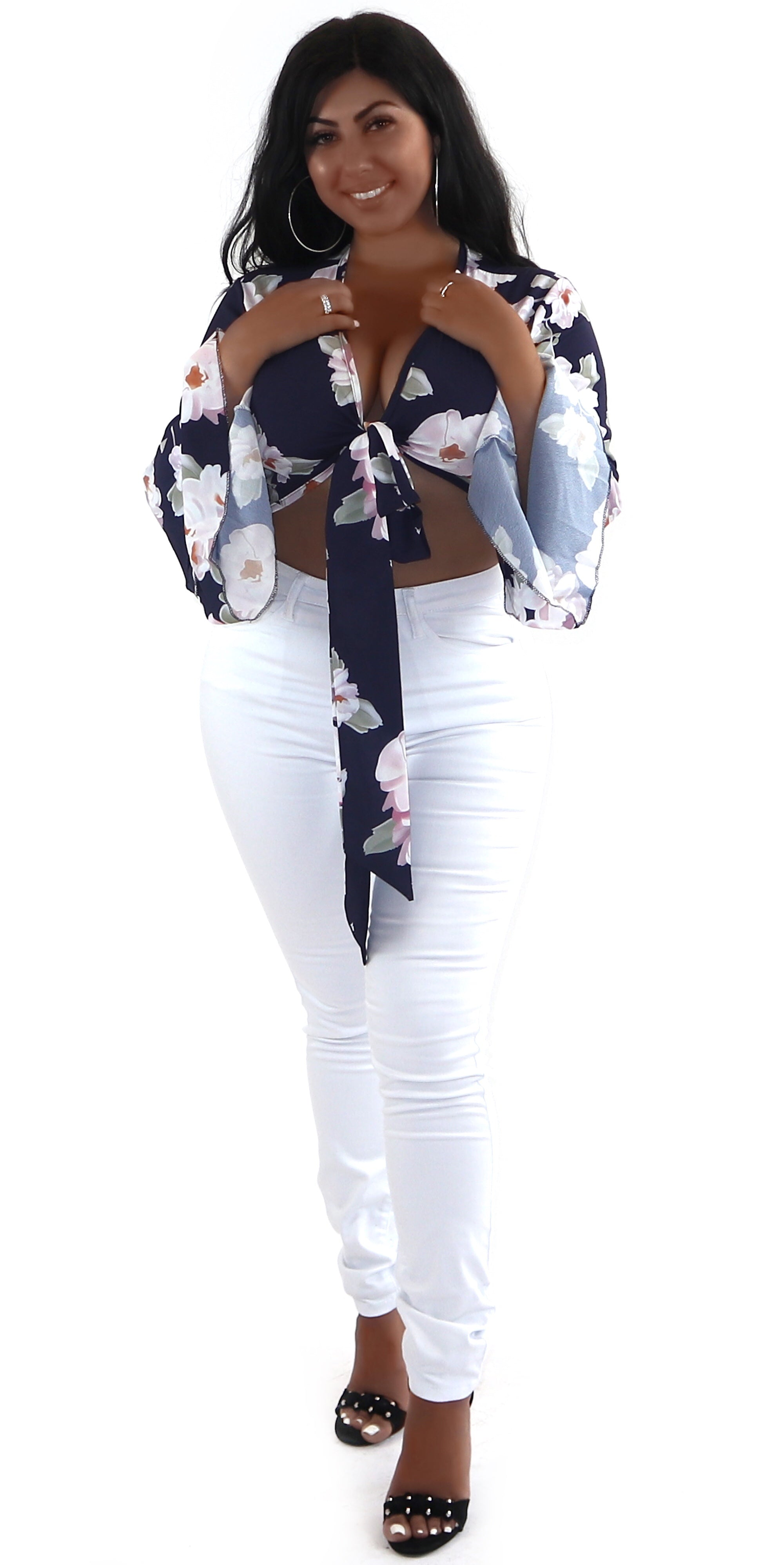 floral navy blue crop top tie up bell sleeve fashion trends clothes clothing styles