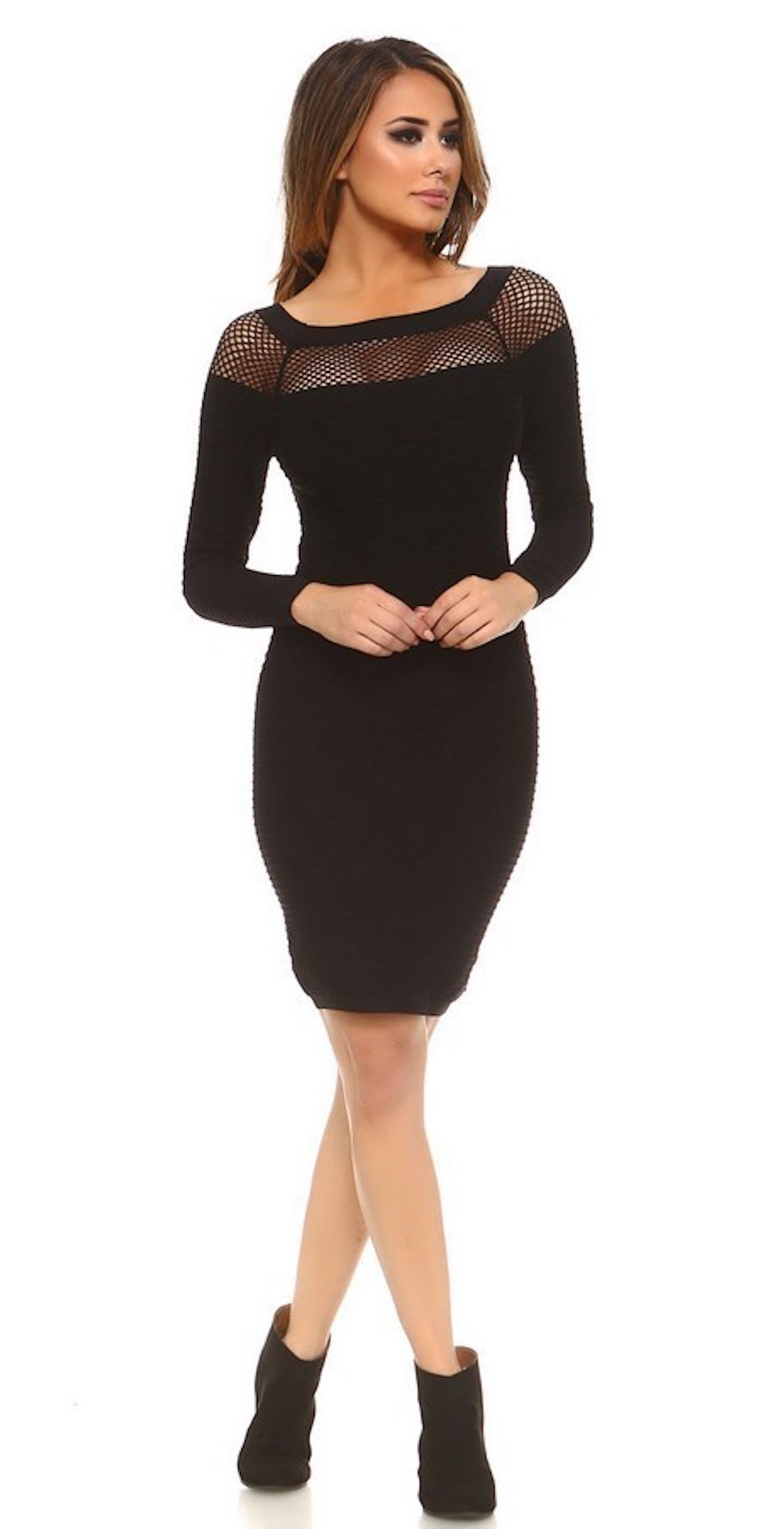 netted neckline black bodycon bandage curve hugging shape formal casual knee length fashion clothing woman trending style