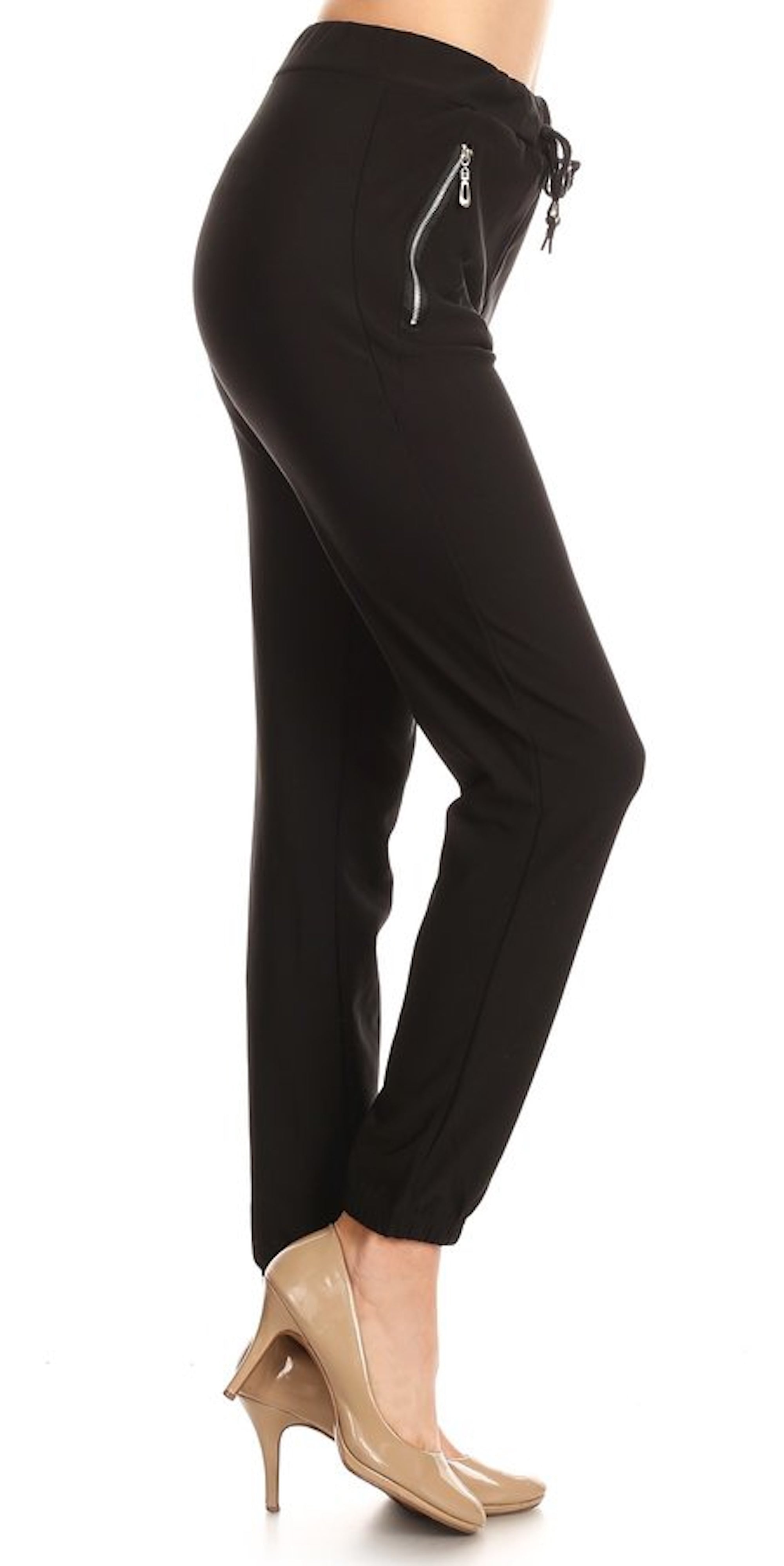 zipper fashion jogger pants black tie up fashion clothing woman trending style
