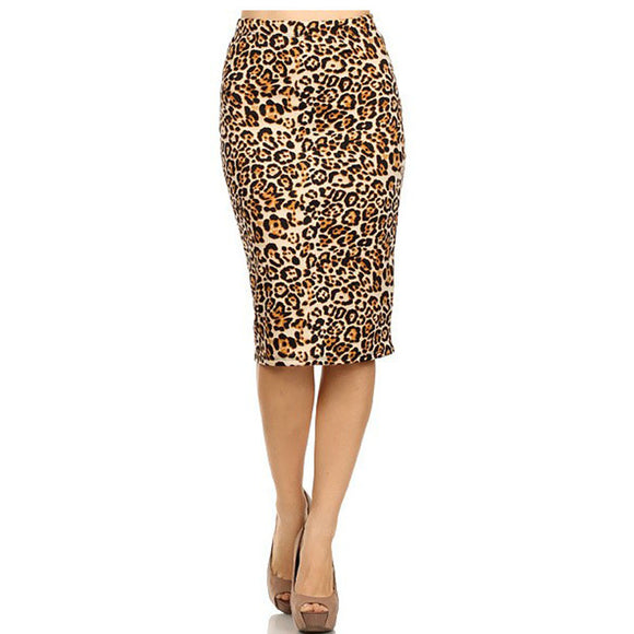 2017 Hot Ladies New Fashion Women's Leopard Pencil Skirt High Waist Floral Grid Printing Middle Skirts Muti Colors - jahfashions