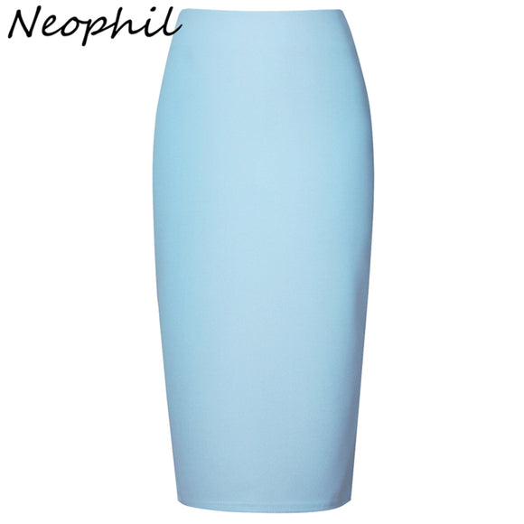 Neophil 2017 Summer Sexy Ladies Chiffon Pencil Skirts Midi High Waist Stretch Slim Casual Pink Black Office Work Wear Saia S0311