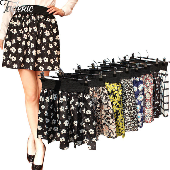 Jaderic 2016 new fashion Pleated Retro High Waist Summer floral plaid short chiffon skirts mini skirt  | 10 Styles