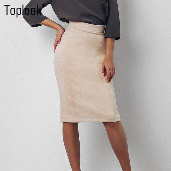 Toplook Split Vintage Suede Bodycon Skirt High Waist Women Knee Length Pencil Skirt Solid OL Office Elegant Skirts Womens 2017 - jahfashions