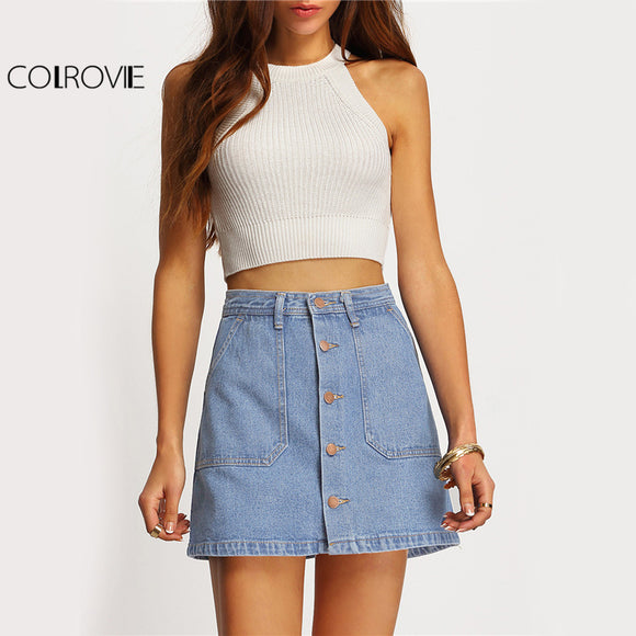 COLROVIE Famous 2016 Summer Style Women Mini Skirts High Waist Sexy Womens Pockets Blue Single Breasted Denim A-Line Skirt - jahfashions