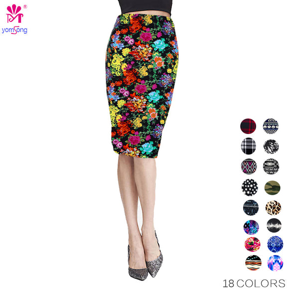 Yomsong New Fashion Wholesale Summer Women's Pencil Skirt  High Waist Floral Printing Midi Skirt  Saia Women  Casual Skirt 204 - jahfashions