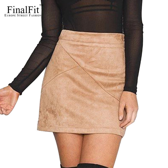 FinalFit High Waisted Pencil  Women Skirt Suede Tight Bodycon Sexy Mini Short Skirt - jahfashions