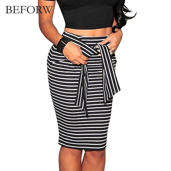 BEFORW Brand Skirts Womens Fashion High Waist Stripe Lacing Skirt Big Size White And Black Sexy Bodycon Long Skirt For Women - jahfashions
