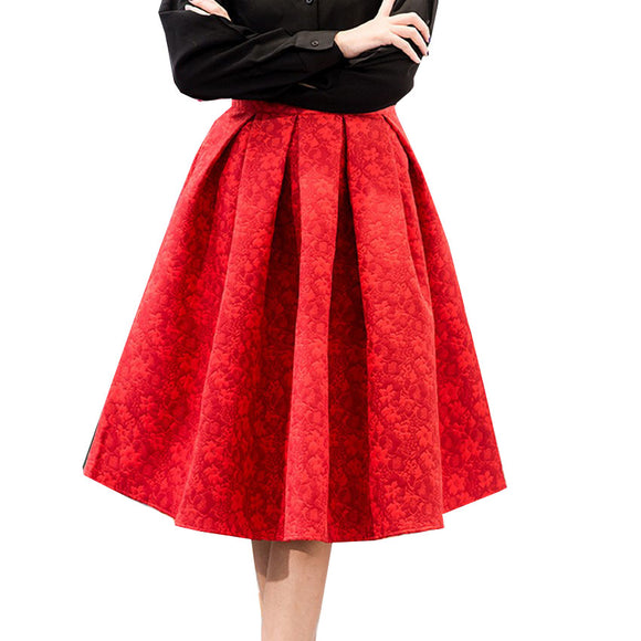 Kobeinc Autumn Retro High Waist Skirt Women Elegant Female Jacquard Mini Pleated Skirts Knee-Length Saias A-line Red Jupe 2017
