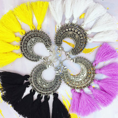 coloured tassel earrings