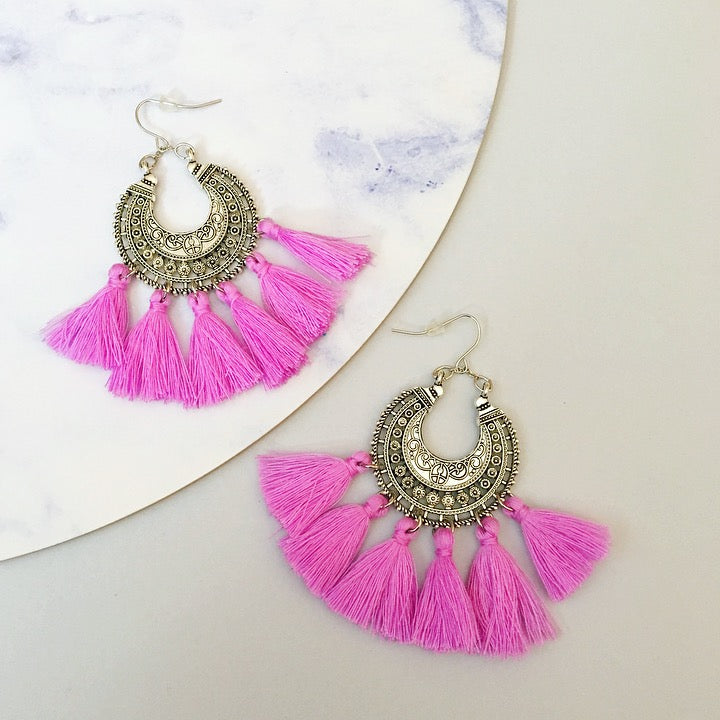 Angel Tassel Earring - Magenta
