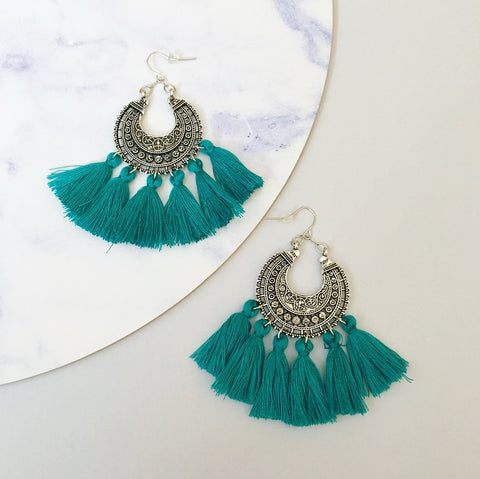 Angel Tassel Earring - Teal