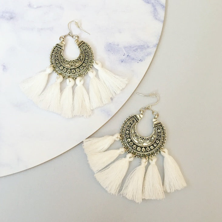 Angel Tassel Earring - White