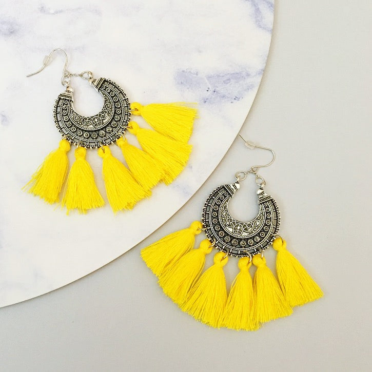 Angel Tassel Earring - Yellow