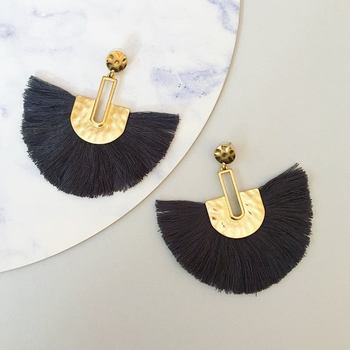 Bella Tassel Earring - Charcoal