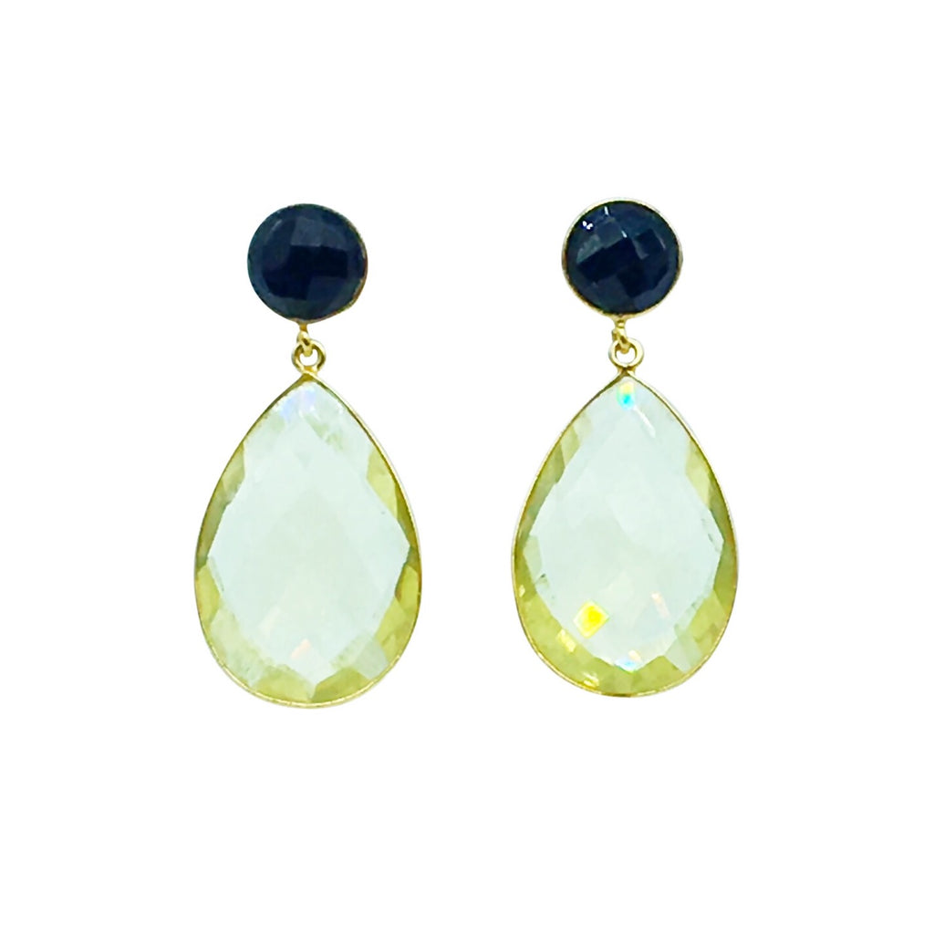 Blair Earring - Lemon Topaz Black Onyx gemstone