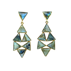 Countess Earring - Labradorite gemstone geometric shape