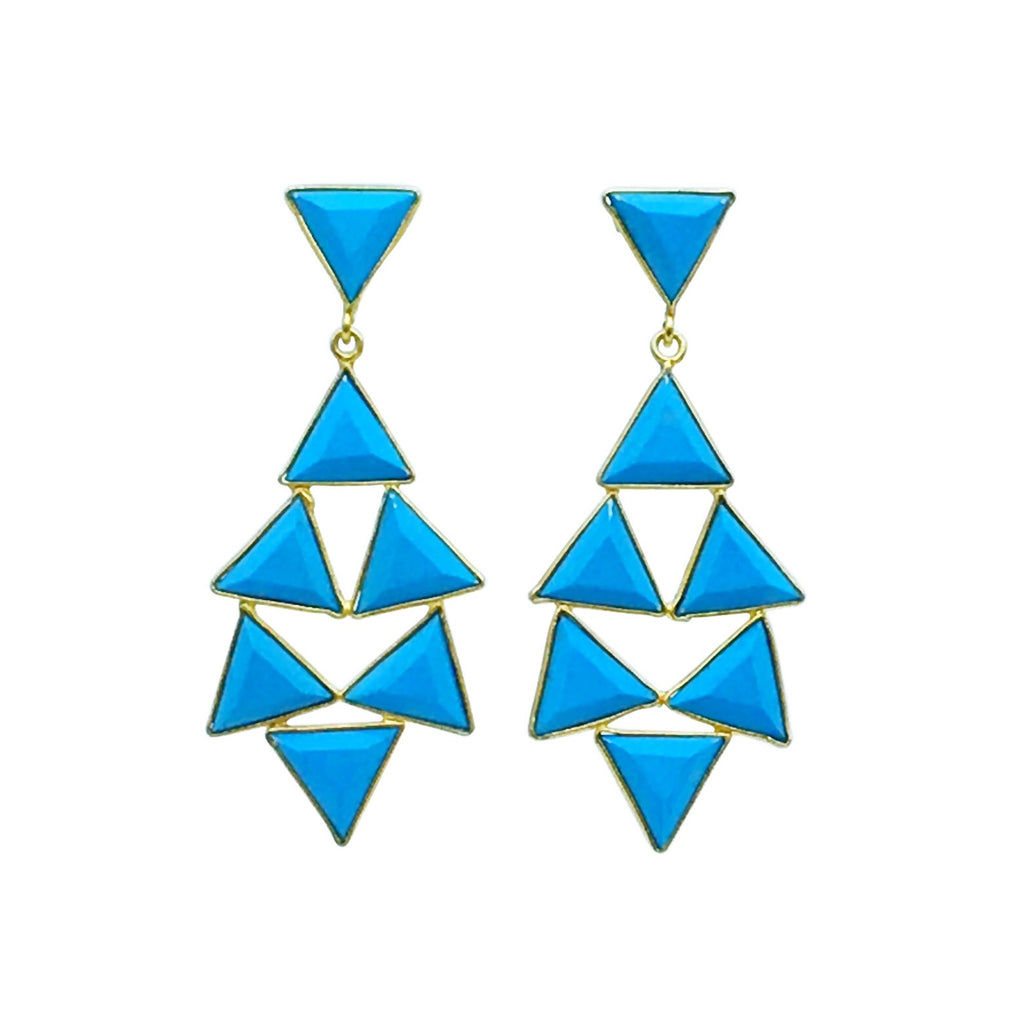 Countess Earring - turquoise gemstone geometric shape