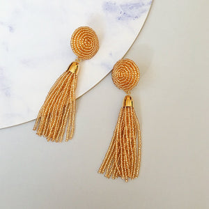 Ebony Beaded Tassel Earring - Gold