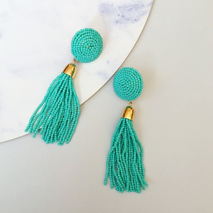 Ebony Beaded Tassel Earring - Turquoise