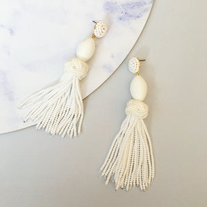 Jamie Beaded Tassel Earring - White
