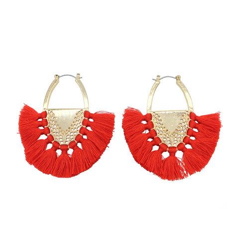 Lexi Tassel Earring - Red