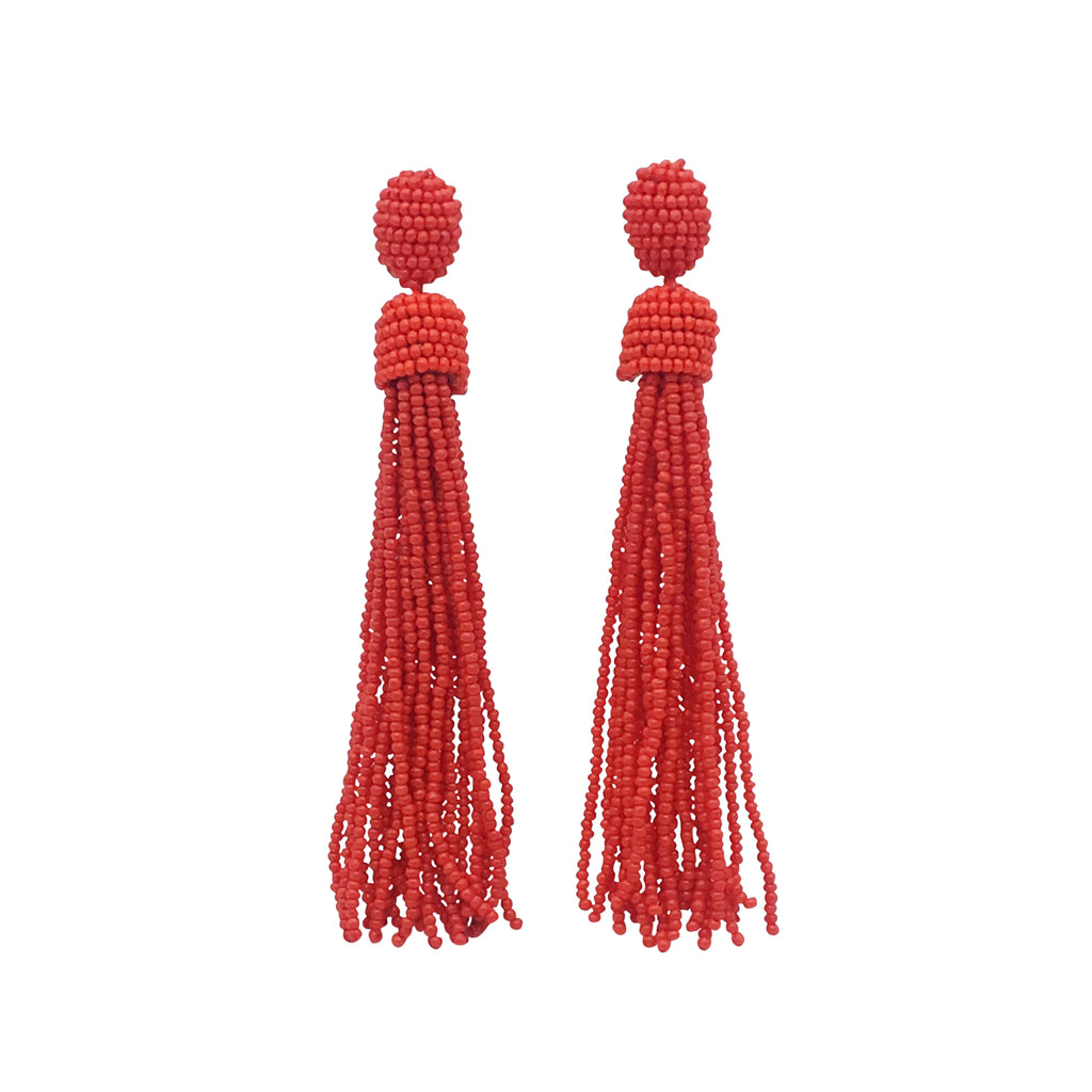 Clio Earring - Red beaded tassel