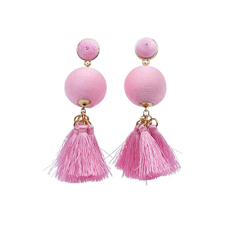 Roxy Earring - Pink silk thread ball tassel