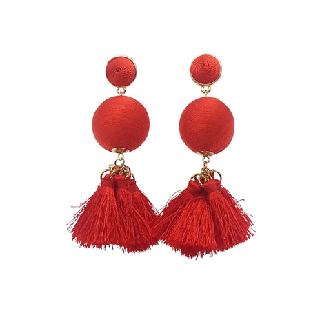 Roxy Earring - Red thread ball tassel