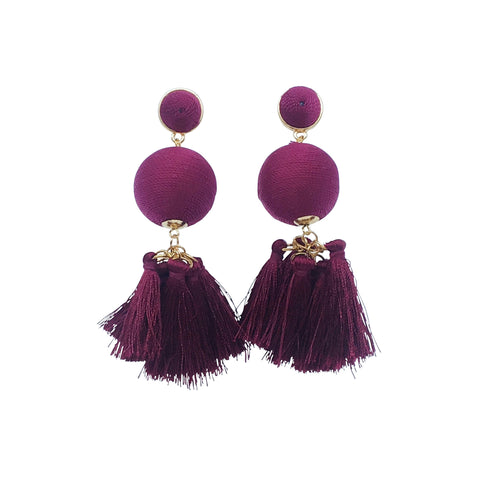 Roxy Earring - Purple silk thread ball tassel