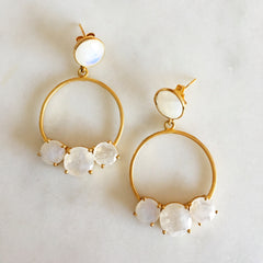 Utopia Earring - Rainbow Moonstone