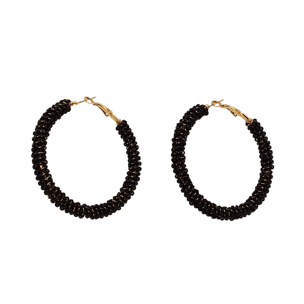 Sahra Beaded Hoop Earring - Black