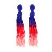 Clio earring bright mix multi coloured beaded tassel