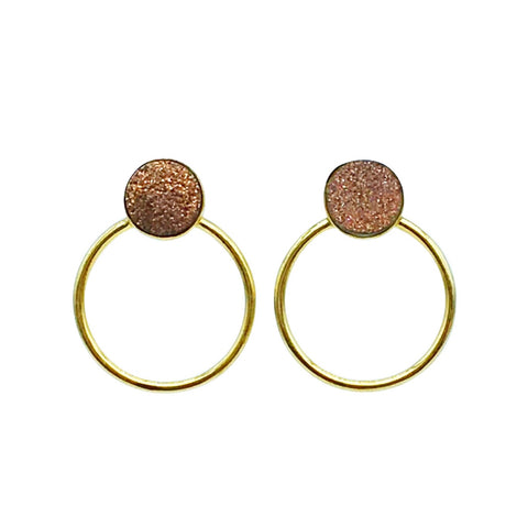 Zanna Earring - Rose Druzy