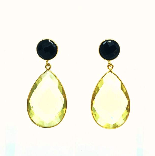 Blair Earring - Lemon Topaz/Black Onyx