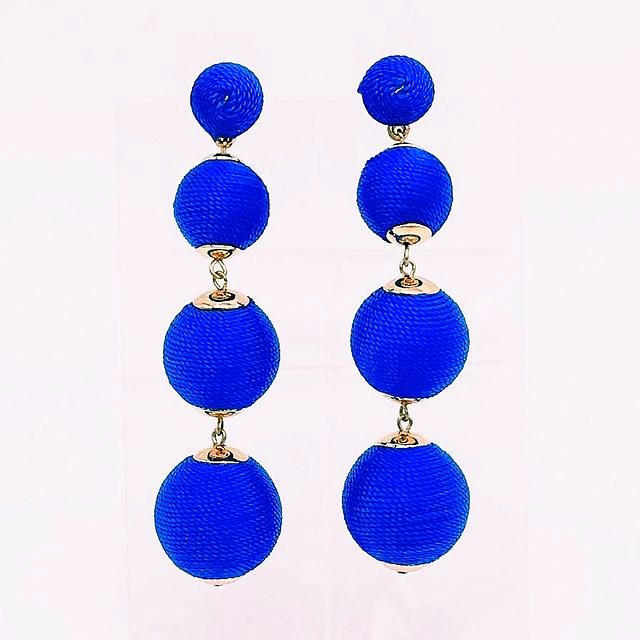 chiara earring in royal blue silky thread ball style