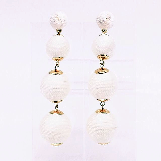 chiara earring in white silky thread ball style