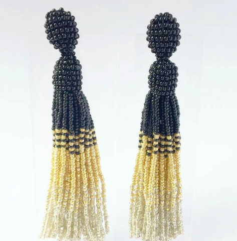 clio metallic beaded tassel earring