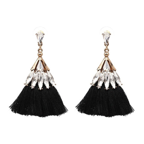 Capri Jewel Tassel Earring - Black