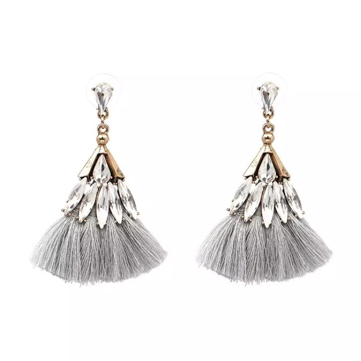 Capri Jewel Tassel Earring - Grey