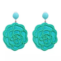 Aqua Rose Statement Earring