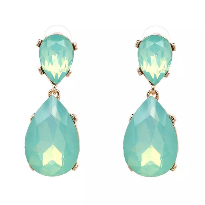 Jewel Drop Earring - Pale Aqua