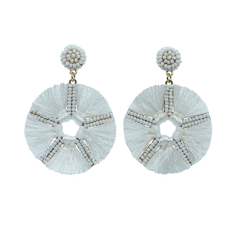 oahu tassel earring in white