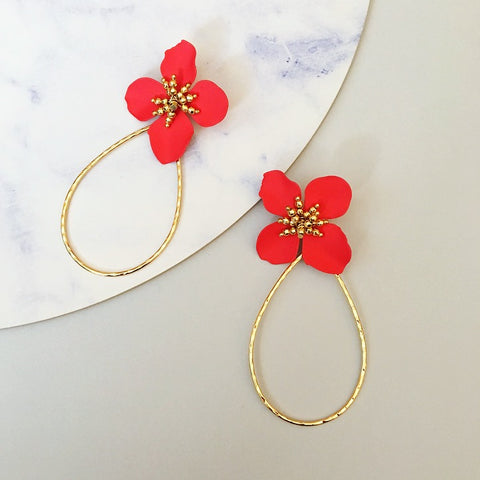 poppy flower earring red gold