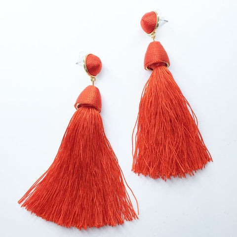Siren Earring red silk tassel style