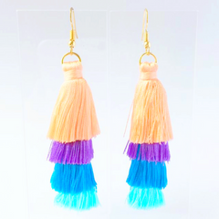 Mila Earring - Pastel Mix silk thread tassel