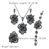 Rose Flower Black Crystal Jewelry Set