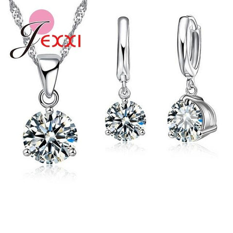 Crystal 925 Sterling Silver women Necklaces Set