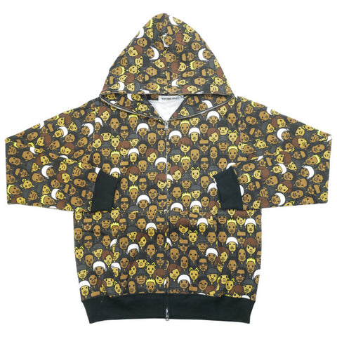 A BATHING APE  EXILE iD 10SS EXILE All Character Total pattern Zip Hoodie