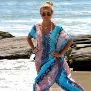 Long Flowing Patterned Beach Kaftan
