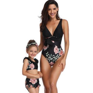 Mother And Daughter Matching Floral Swimwear